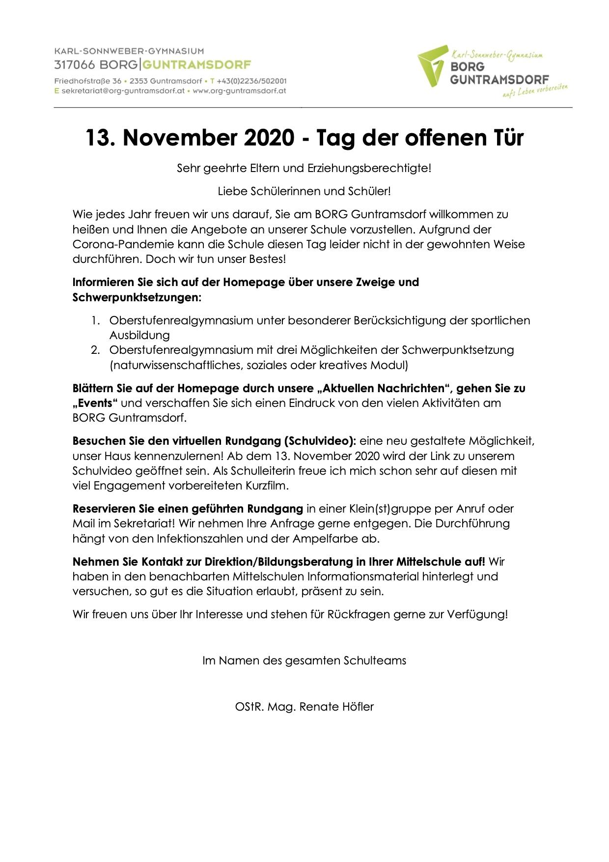 Tag der offenen Tür am 13. November 2020