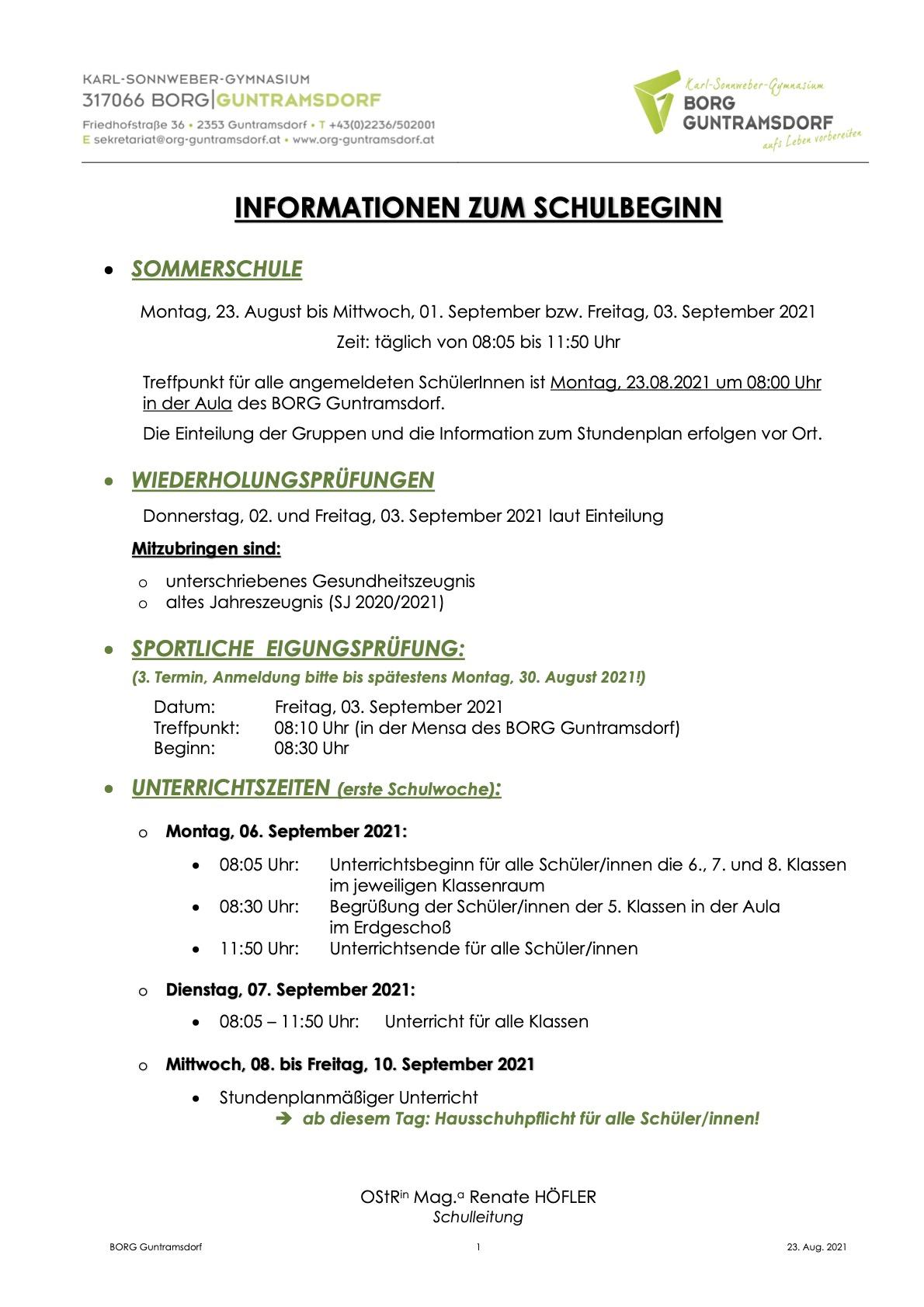 Informationen zu Schulbeginn